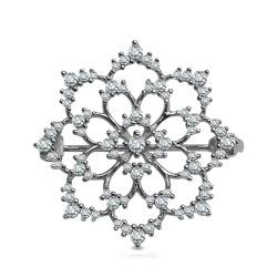 Broszka srebrna kwiat ażurowy